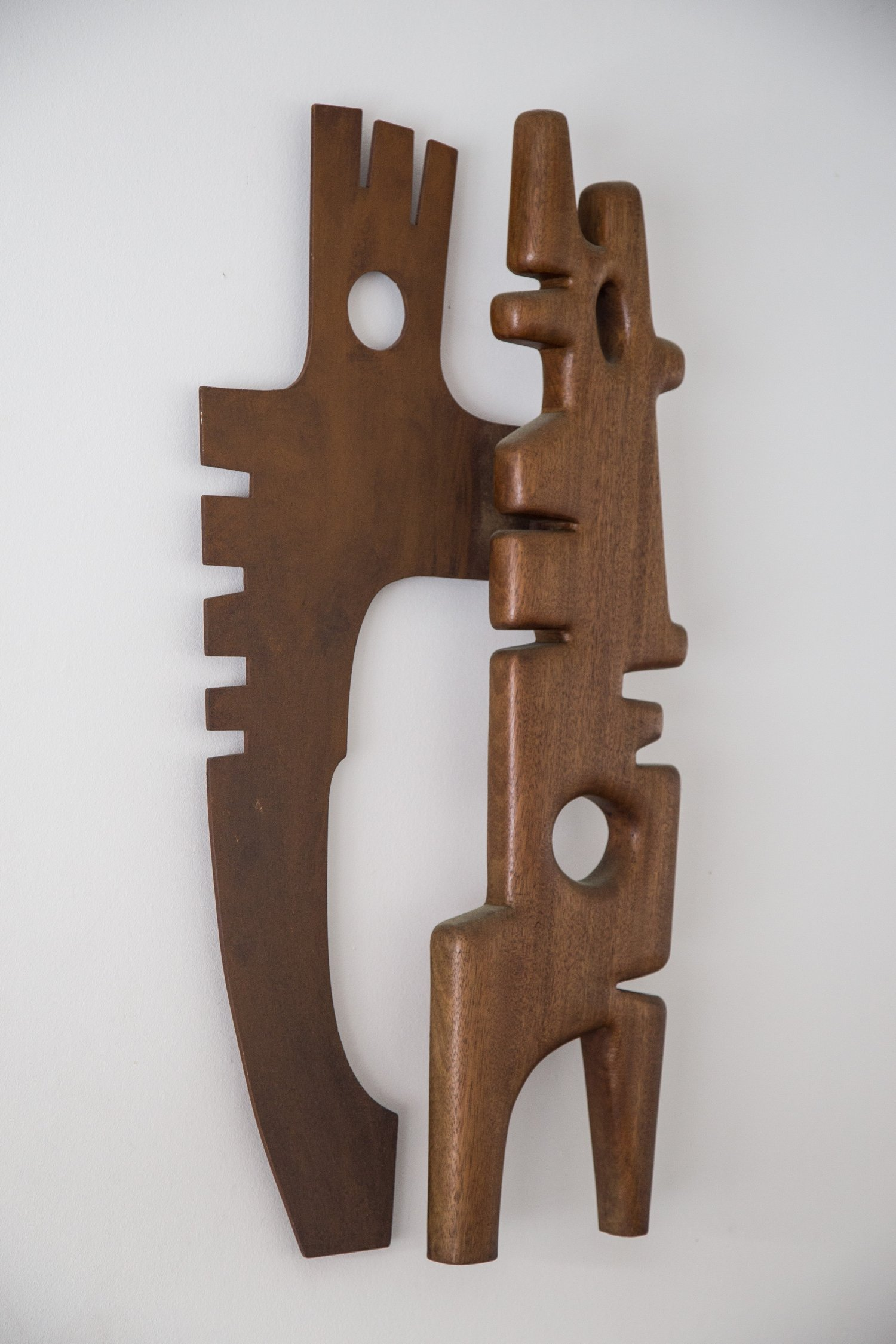 Unknown 1950's sculpture in wood and steel.