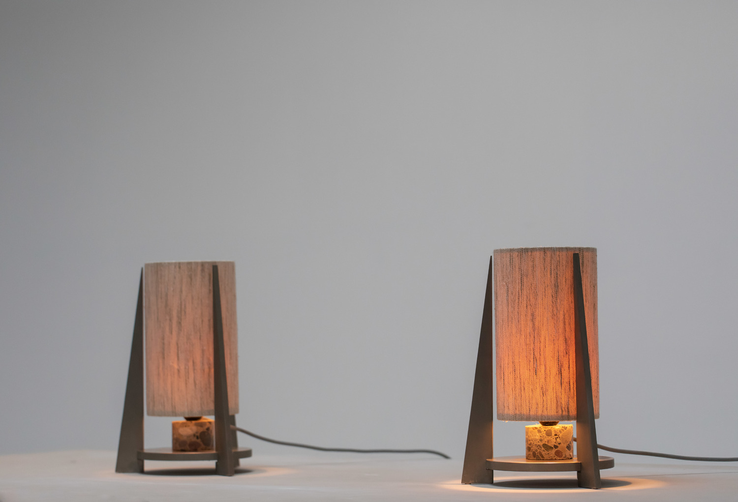 Nickel plated lamps with terrazzo